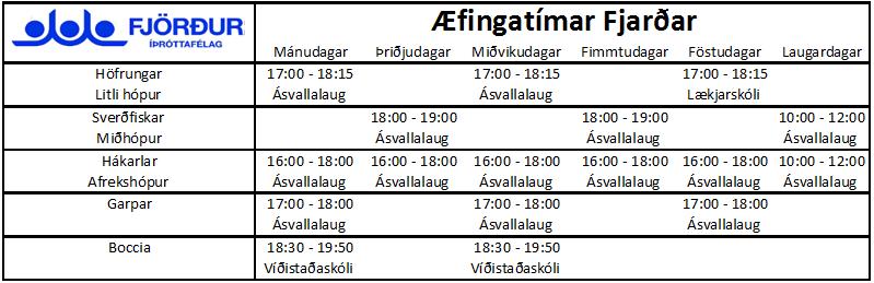 Fjörður æfingatafla